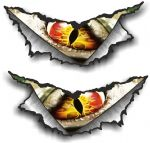 XLARGE Pair Triangular Ripped Torn Metal & Evil Monster Eye Motif Vinyl Car Sticker 300x140mm